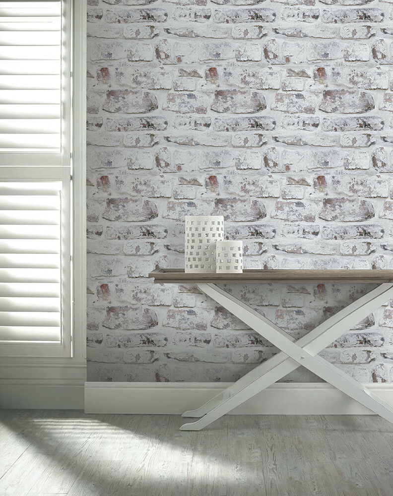 3d Effect Wallpaper Ebay Arthouse Brick Effect Brown White Old Weathered Rustic