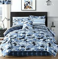 Sky Blue Camouflage Camo Army Boys Full Comforter Set (8 ...