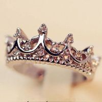 Fashion Princess Women Silver Rhinestone Crown Ring Size 7 ...