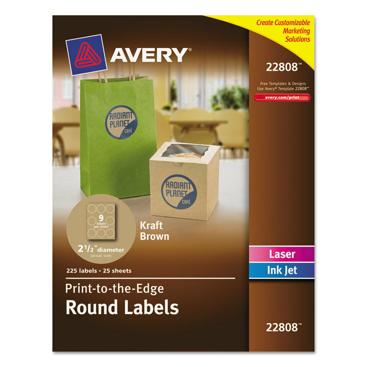 Avery Round Print-To-The-Edge Labels, 2 1/2\
