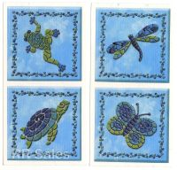 Dragonfly Turtle Blue Confetti Tile Cover Decal Bathroom ...
