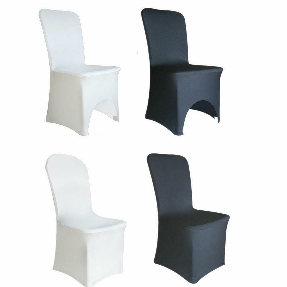 Chair Cover Polyester Spandex Chair Cover Arched Flat Front Covers Wedding Party Black White Ebay