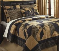 RUSTIC COUNTRY BLACK STAR 3pc Full / Queen QUILT SET ...