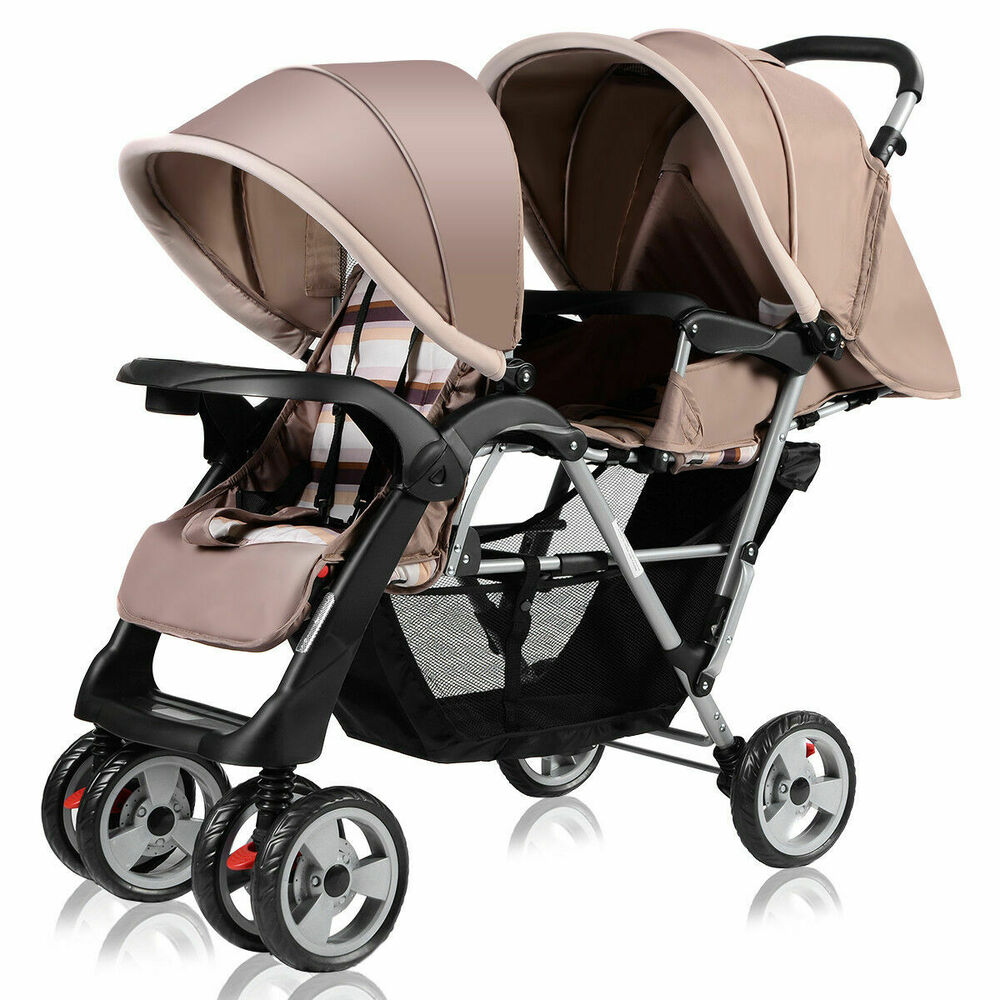 Lightweight Twin Pram Foldable Twin Baby Double Stroller Kids Jogger Travel