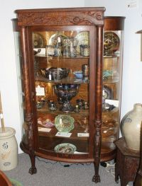 Antique Oak China or Curio Cabinet  Lion heads and claw ...