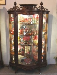 Antique Oak Curio China Cabinet  Art Nouveau Style ...