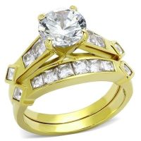 Women's 3.15 CT Round CZ 14K Gold Plated Bridal Engagement ...