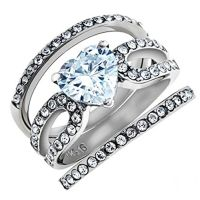 3.15 Ct Heart Shape CZ Wedding & Engagement Ring 3 Piece