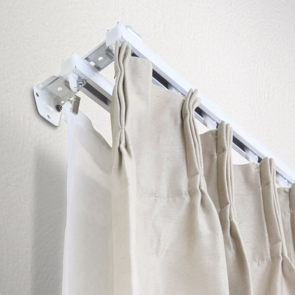 10 Foot Curtain Pole New Double 10 Ft Curtain Track Kit White Ceiling Wall Mount Ebay