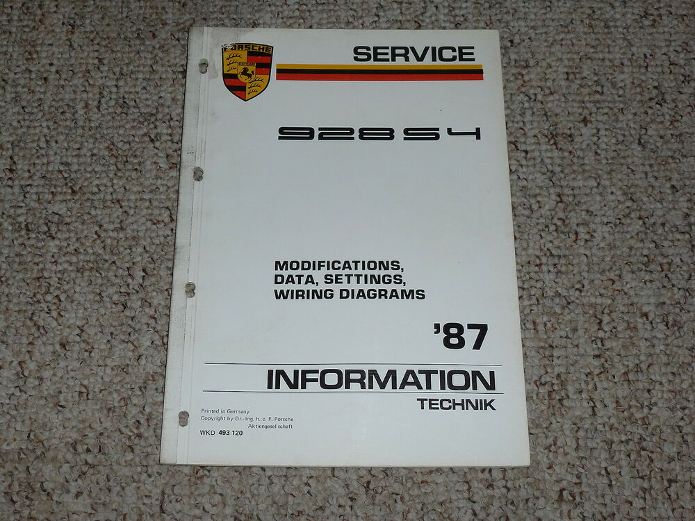1987 Porsche 928S4 928 S4 Wiring Diagrams Data Settings Service