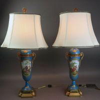 Antique Pair of French Sevres School Porcelain Table Lamps ...