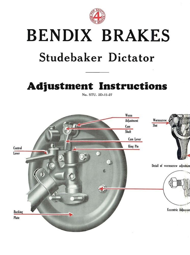 1928 Studebaker Dictator Brake Adjustment and Trouble Finder eBay