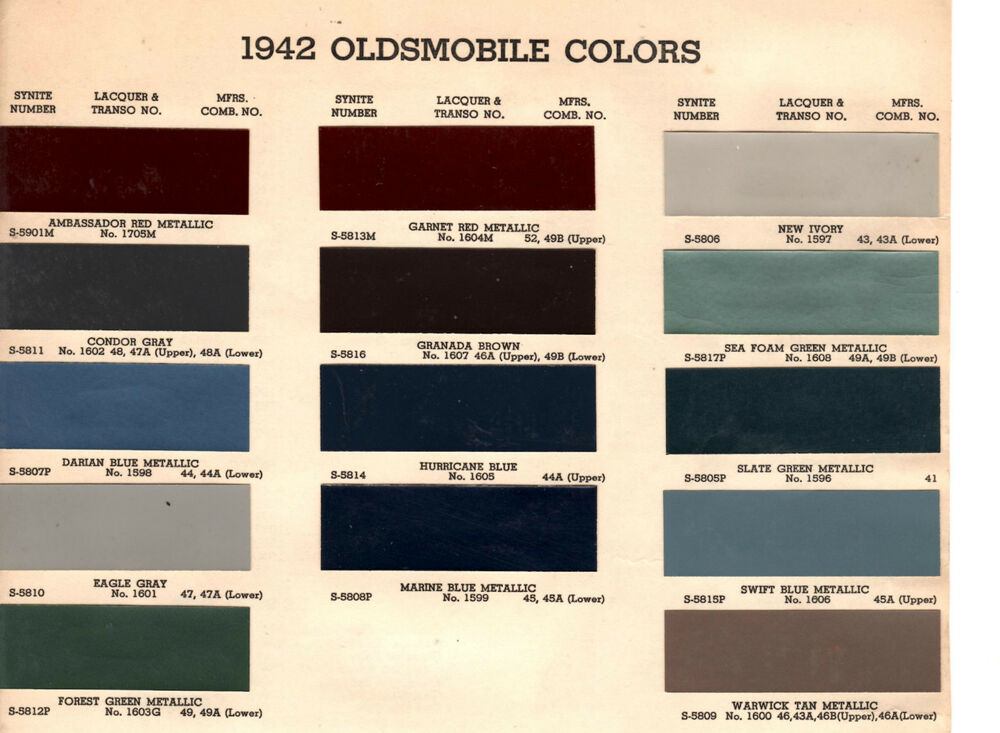 1942 OLDSMOBILE SERIES 60 SERIES 70 42 PAINT CHIPS ARCO eBay