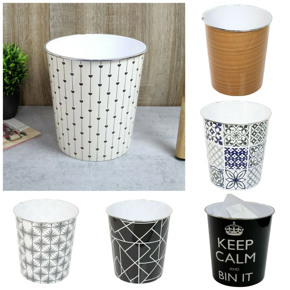 Fun Trash Can 9l Fun Pattern Bright Round Waste Paper Basket Bin Trash Can