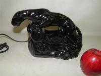 VINTAGE 1950'S BLACK GLAZED POTTERY PANTHER TV LAMP | eBay
