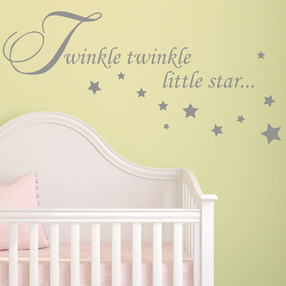 Baby Girl Nursery Removable Wallpaper Baby Wall Sticker Quote Twinkle Twinkle Stars Child