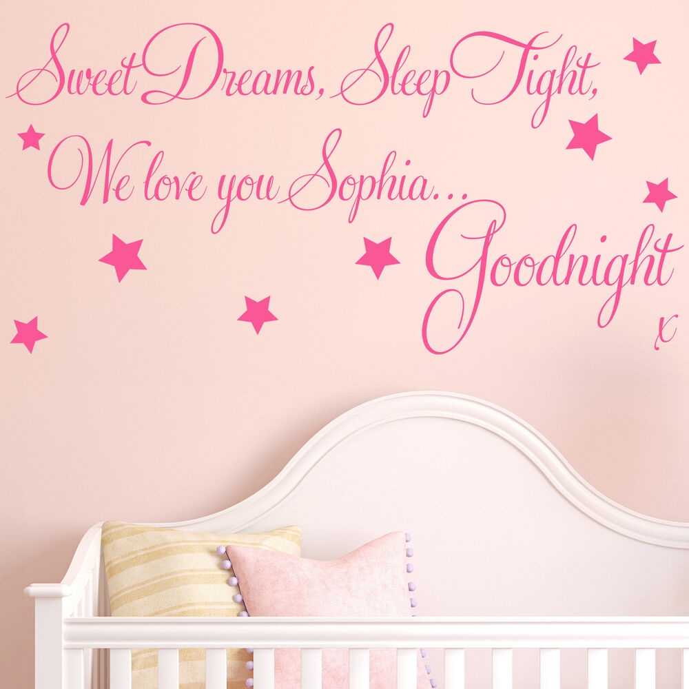 Baby Girl Nursery Removable Wallpaper Baby Wall Sticker Quote Personalised Sweet Dreams Girl