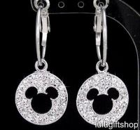 DISNEY MICKEY MOUSE WHITE GOLD PLATED HOOP DANGLE EARRINGS ...