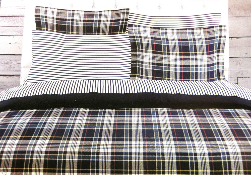 Reversible Duvet Set Twin - Tommy Hilfiger - Bradford Navy, Red & White Plaid
