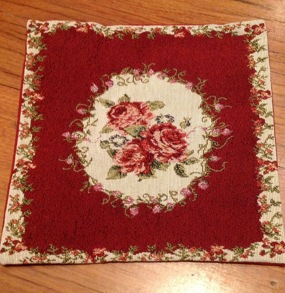 Burgundy Country Rose Tapestry Pillow Cushion Cover