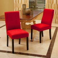 Set of 2 Contemporary Red Fabric Dining Chairs | eBay