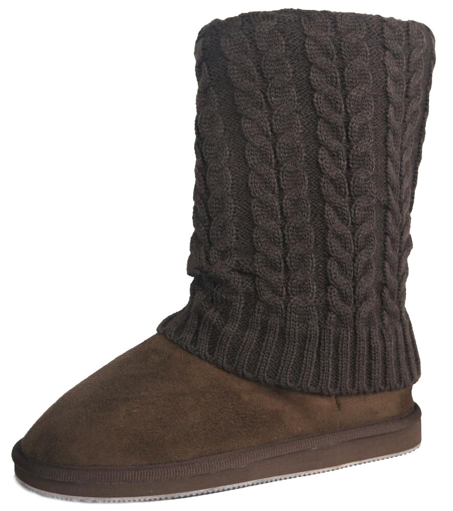 Womens Brown Sweater Boots Mid Calf Foldover Cable Knit