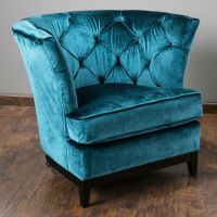 Living Room Furniture Teal Blue Tufted Velvet Round Sofa ...