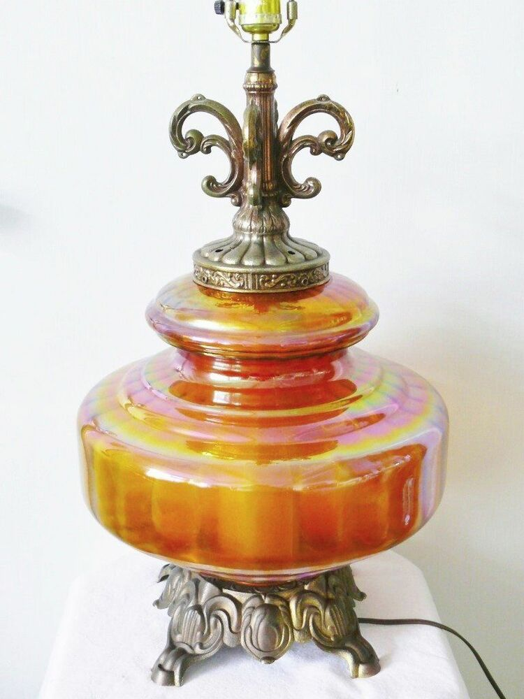 Vintage Mid Century Iridescent Amber Carnival Glass Table