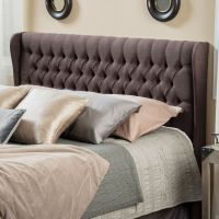 Queen to Full Size Bed Wingback Fabric Headboard w/ Button ...