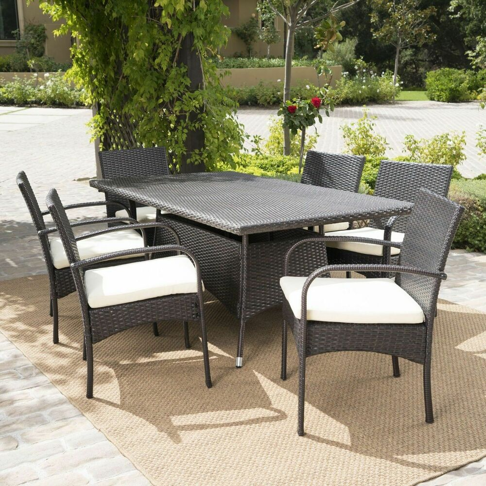 7 Piece Patio Set 7 Piece Outdoor Patio Furniture Multibrown Wicker Long Dining Set W Cushions 637162658000 Ebay