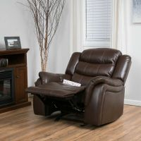 Traditional Brown PU Leather Glider Recliner Club Chair | eBay