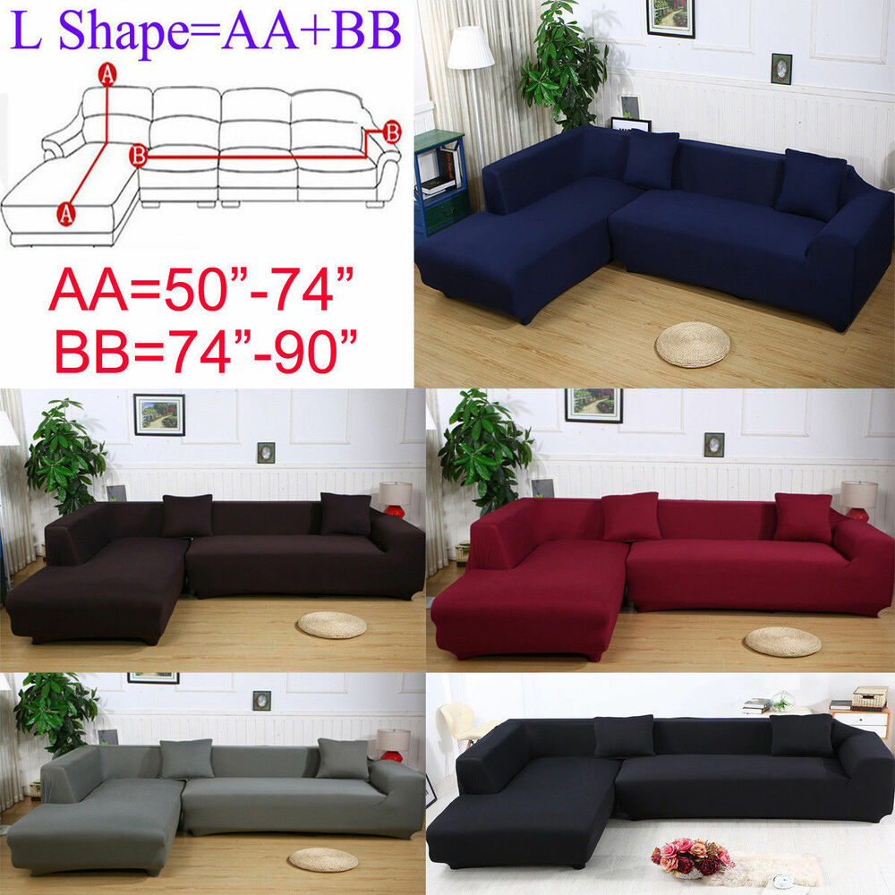 Sofa L 2 X 2 2 Seats 3 Seats Plush Stretch Sure Fit L Shaped Sectional Sofa Slip Covers Set Ebay