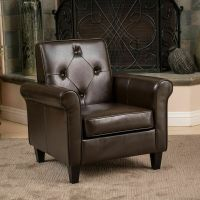 Living Room Furniture Brown Leather Club Chair w/ Tufted