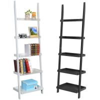 5 Tier Leaning Ladder Shelf Bookcase Bookshelf Wooden ...