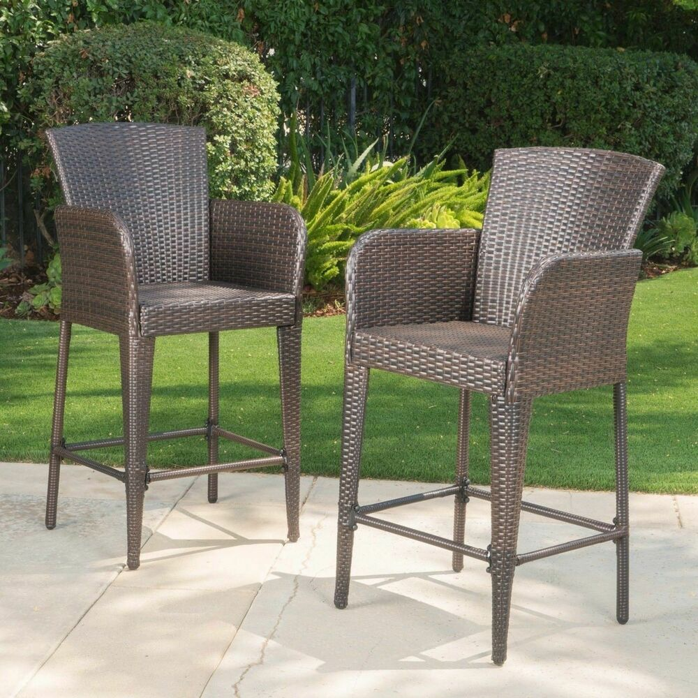 28 Barstools Welmas 28 Inch Contemporary Outdoor Multibrown Wicker Barstool