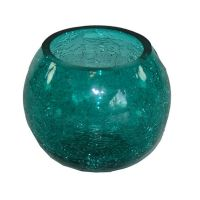 TEAL BLUE FISHBOWL CRACKLE GLASS TEALIGHT CANDLE HOLDER ...