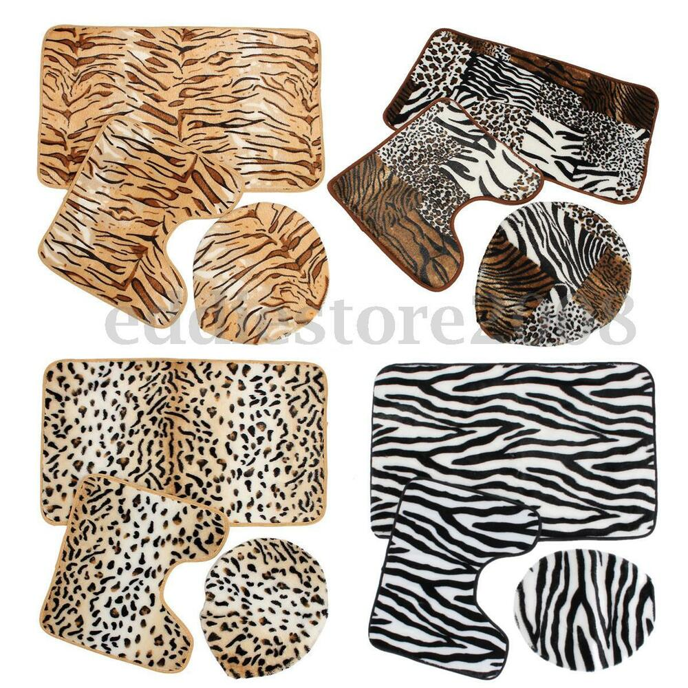 Badteppich Usa Zebra Leopard Print Toilet Cover Set 3 Pc Bathroom Mat Rug
