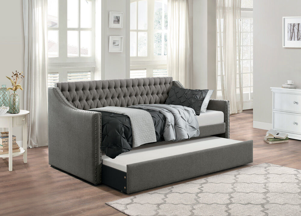 Splitback Dark Grey Sofa Twin Bed Dorm Room Daybed With Trundle