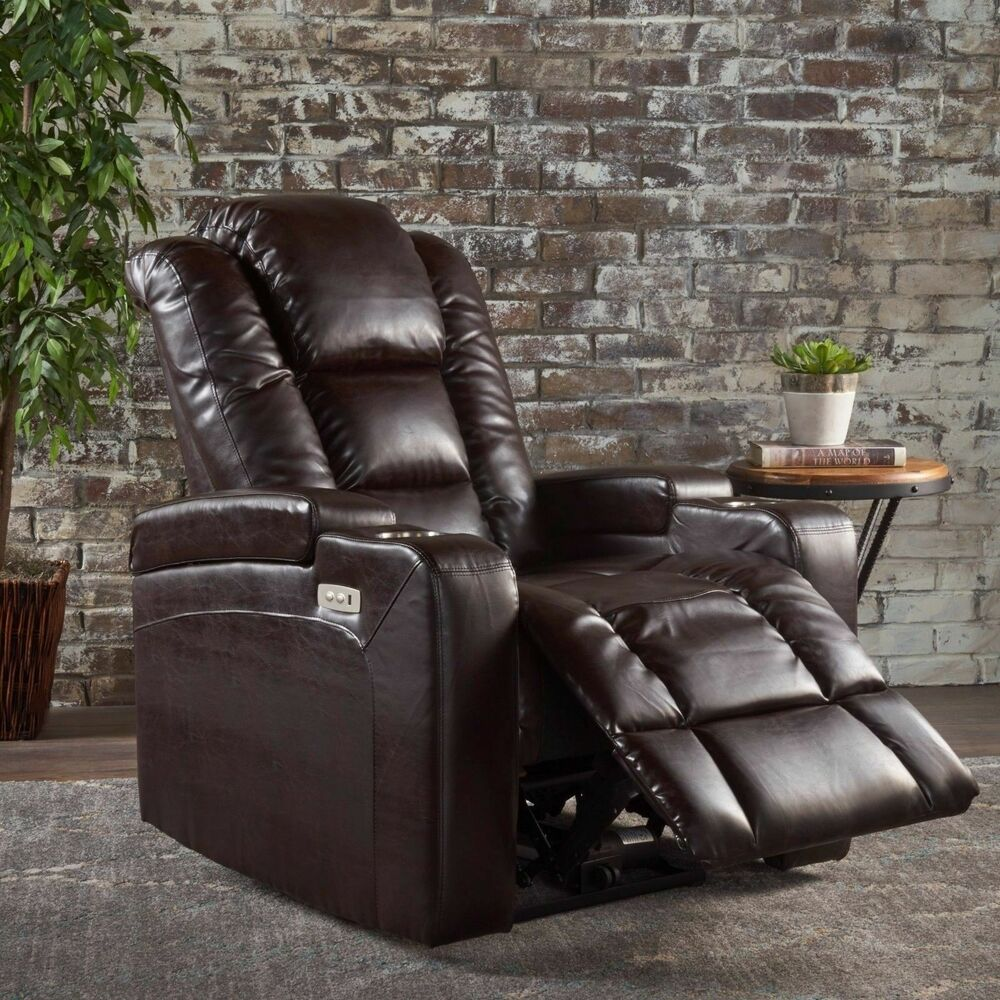 Sofa Relax Con Usb Everette Tufted Brown Leather Power Recliner With Arm Storage And