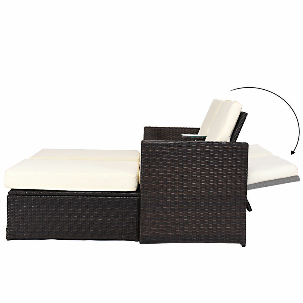 Pool Chaise Lounge Chairs 3pc Outdoor Rattan Wicker Patio Pool Chaise Lounge Chair Table Bed Furniture Set Ebay