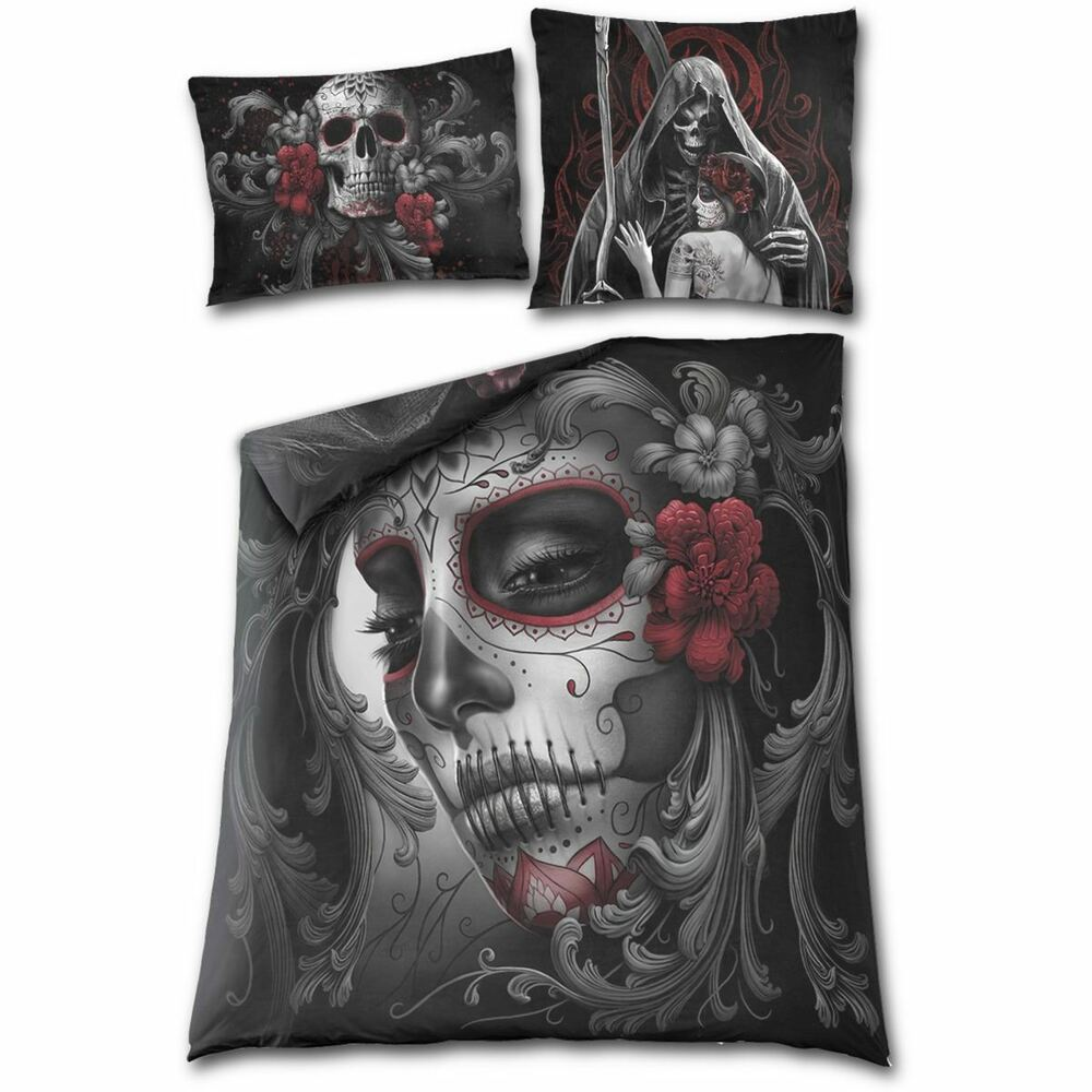 Biancheria Da Letto Ebay Spiral Direct Skull Roses Day Dead Sugar Skull Double Gothic Duvet Bedding Set 5055800621509 Ebay