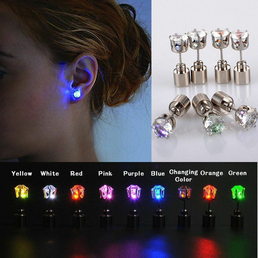 Led Earrings Unisex Fashion Led Earrings Light Up Bling Ear Studs Dance Bar Party Gathering Ebay