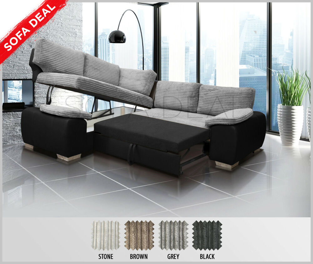 Corner Sofa Bed Jumbo Cord Enzo Corner Sofa Bed With Storage Jumbo Cord Fabric Grey Brown Black Ebay