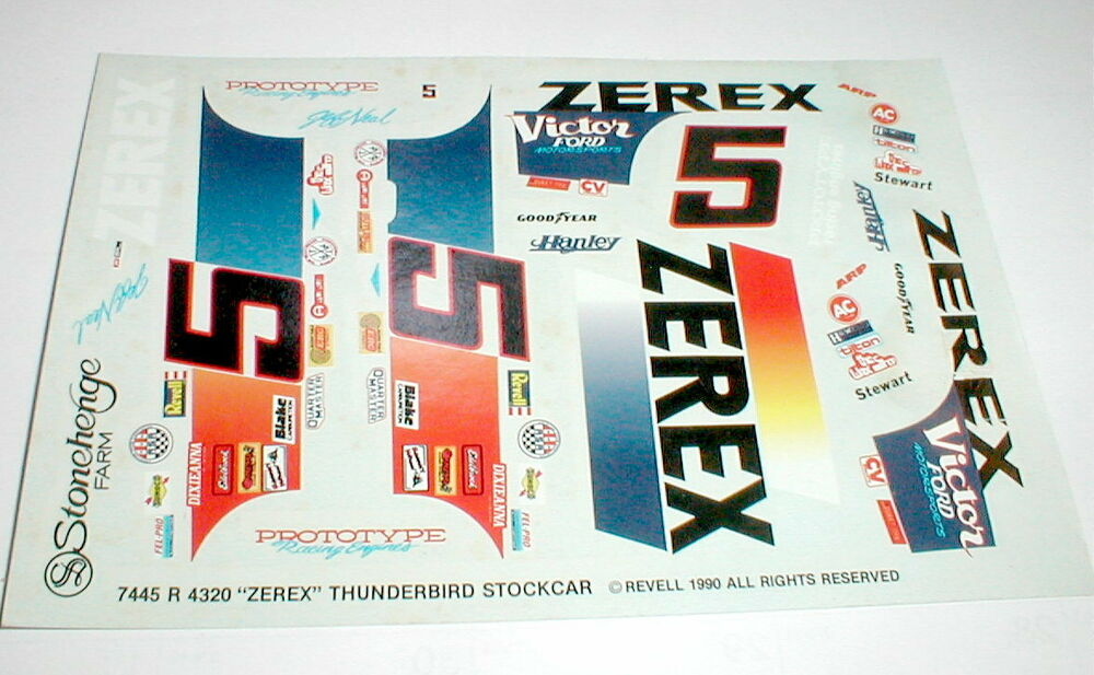 5 Zerex Thunder Bird Stock Car Decals Model Car Jeff Neal 1/25 Scale