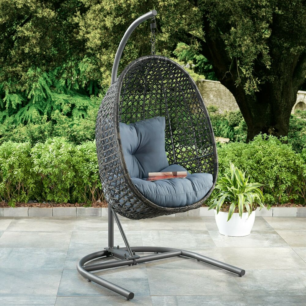 Hanging Outdoor Chairs Patio Wicker Hanging Chair Stand Porch Swing Outdoor Furniture Blue Cushion Ebay