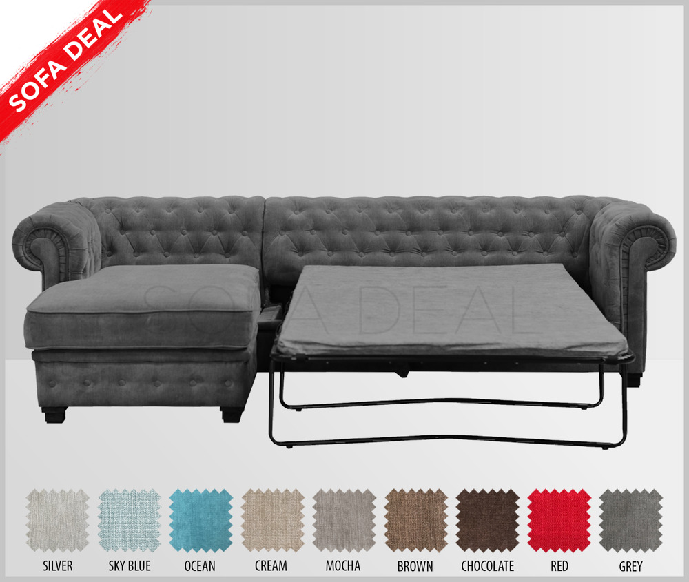 Chesterfield Velours Sofa Bed Imperial Chesterfield Corner Sofa Velour Grey Silver Ebay