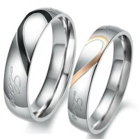 Couple Love Heart Stainless Steel Comfort Fit Wedding ...
