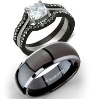 His Tungsten & Hers 4 Pc Black Stainless Steel Wedding ...