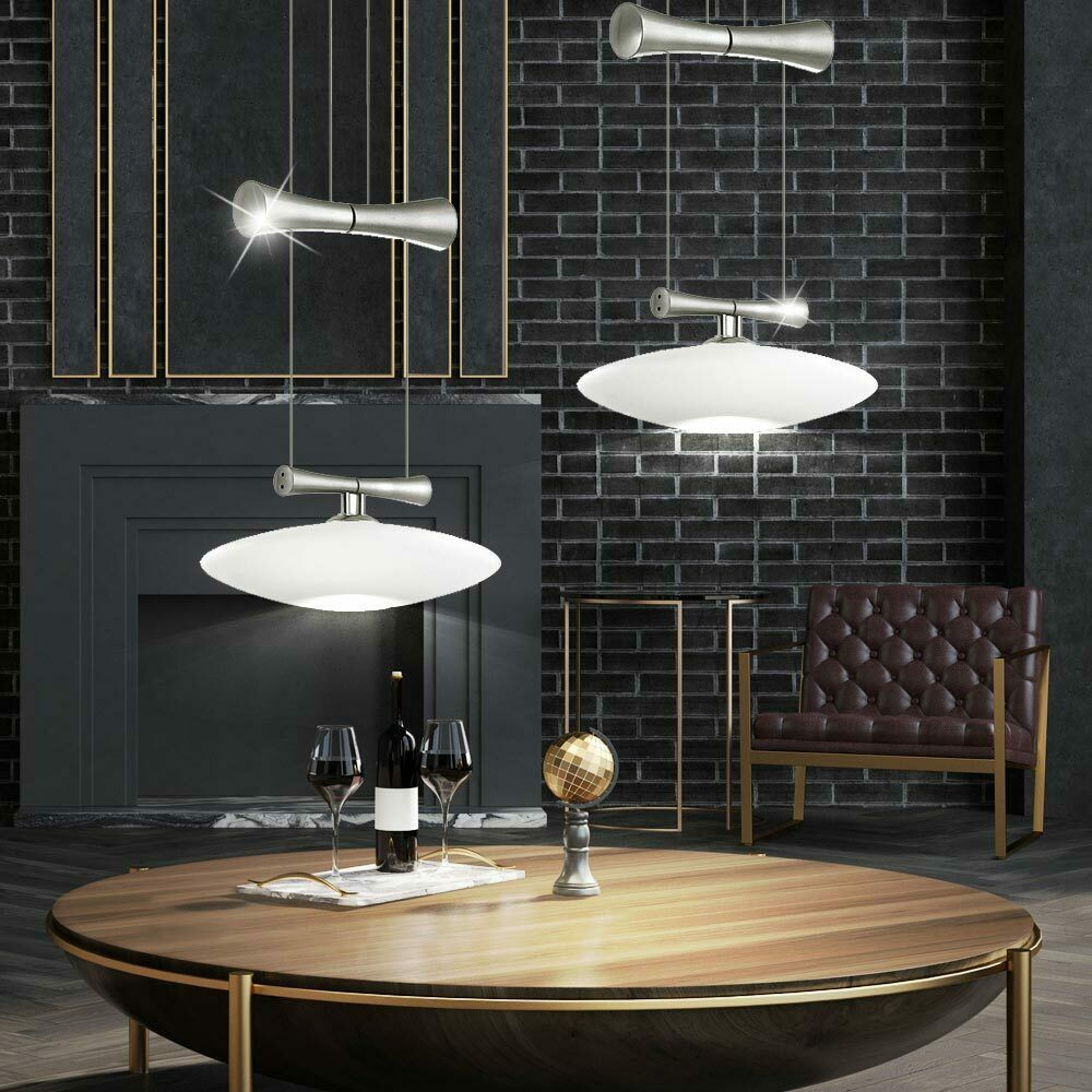 Hängeleuchte Wohnzimmer Lighting Hänge Pendel Leuchte Nickel Halogen Glas Wohnzimmer Leuchte 2-flammig Edel Lobby Home, Furniture & Diy Sheengenie.com