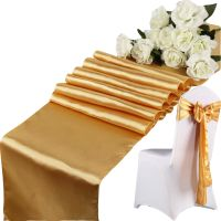 Gold 275cm Satin Chair Sashes Bow+Table Runner Wedding ...